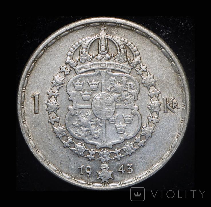 Швеция крона 1943 серебро, фото №3