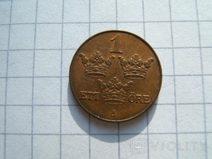 Швеция 1 эре 1936 г.  KM#777.2 большая цифра 6, фото №2