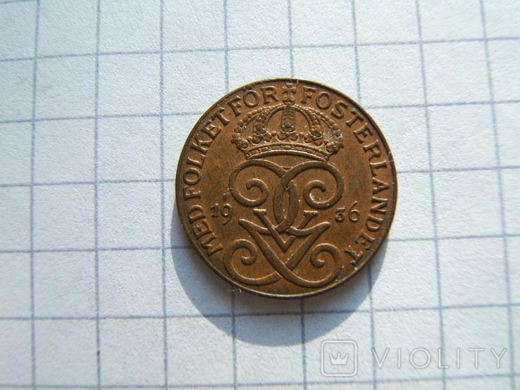 Швеция 1 эре 1936 г.  KM#777.2 большая цифра 6, фото №4