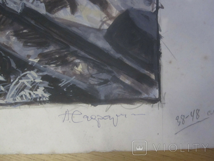 "А. Г. Сафаргалин "" Курская дуга. "" 42х58 см., фото №4"