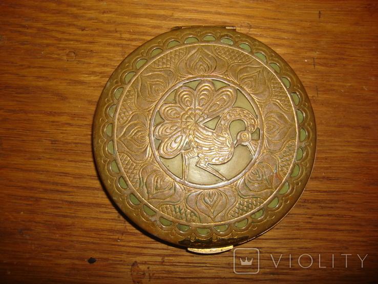 Пудреница латунь эмаль., фото №2