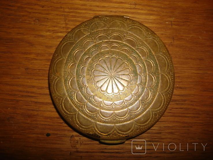 Пудреница латунь эмаль., фото №3