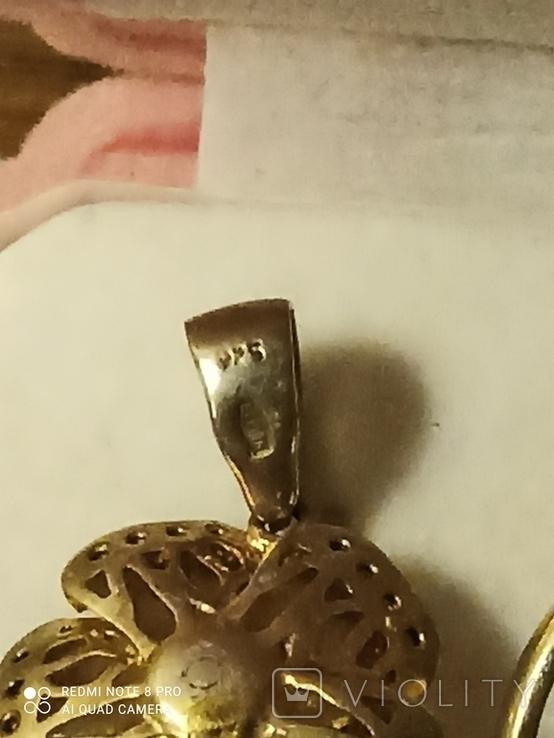 Набор - кулон и кольцо. Эмаль. Серебро с золочением., фото №4