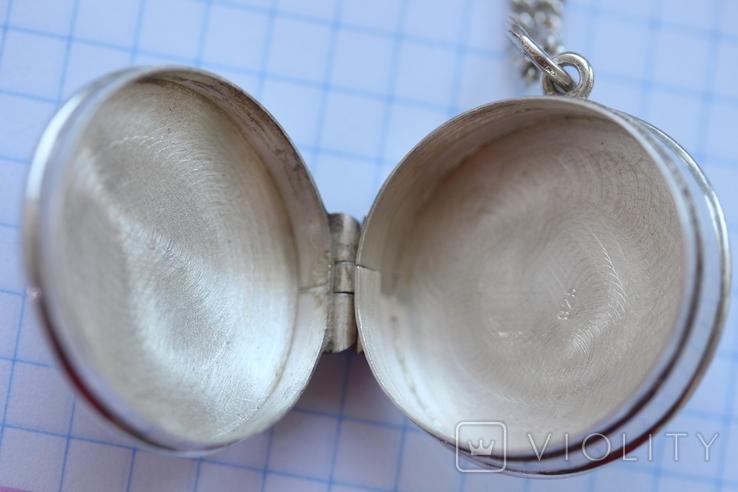 Серебряная цепь с открывающимся кулоном, фото №3