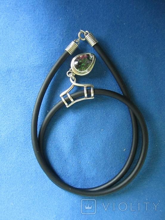 Кулон серебро и камень на резиновом шнурке., фото №3