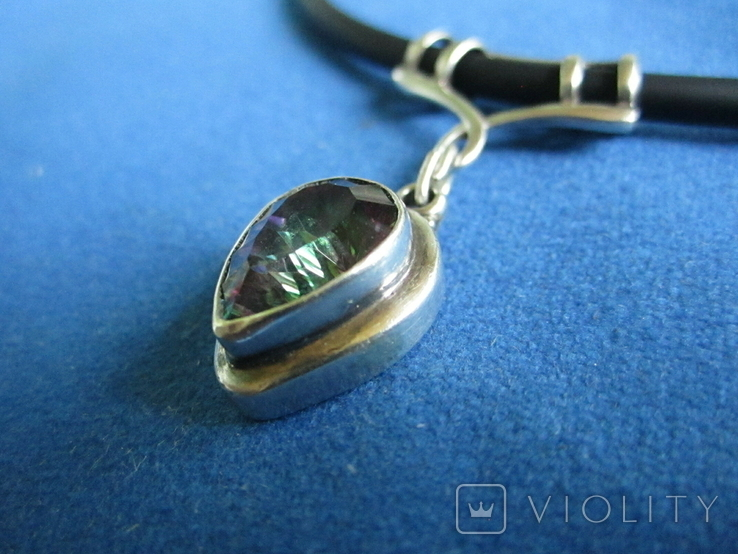 Кулон серебро и камень на резиновом шнурке., фото №9