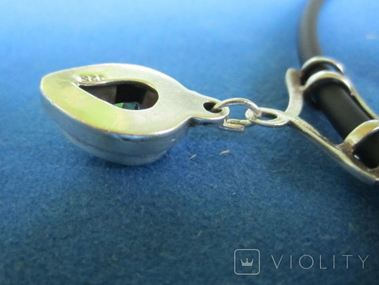 Кулон серебро и камень на резиновом шнурке., фото №11
