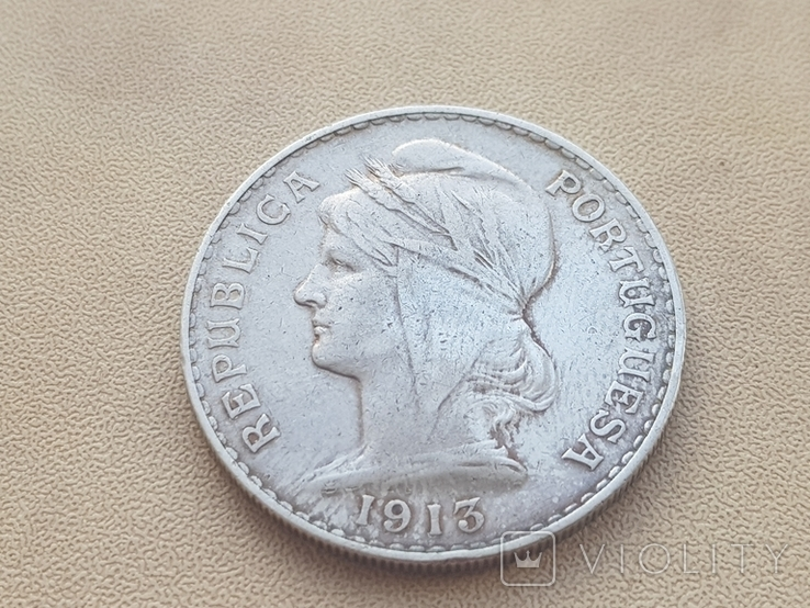 Португалия 1913 год 50 сентаво Серебро, фото №2