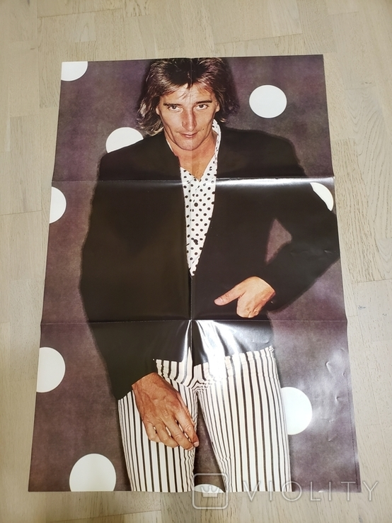 "Vinyl. ""Rod Stewart ‎– Foolish Behaviour"" giant 2-sided poster, OBI, фото №5"