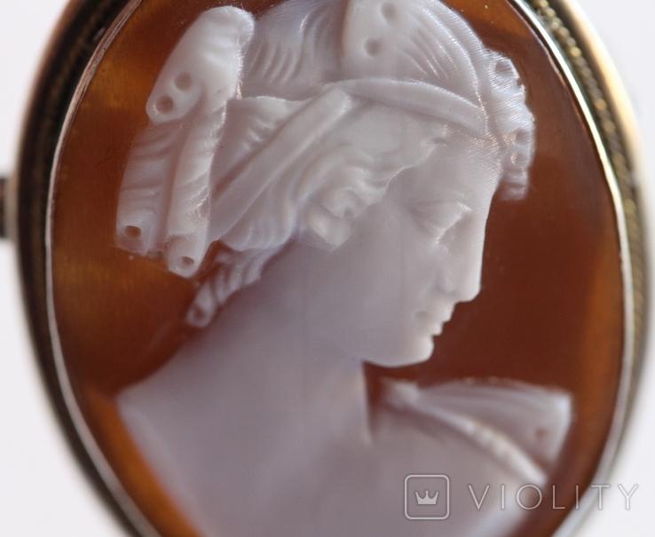 Кулон-брошь камея в серебре, фото №3