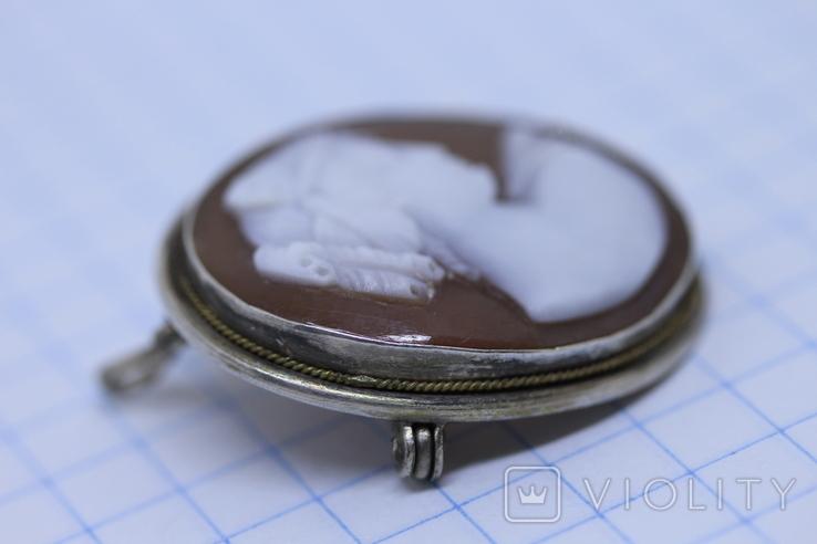 Кулон-брошь камея в серебре, фото №5