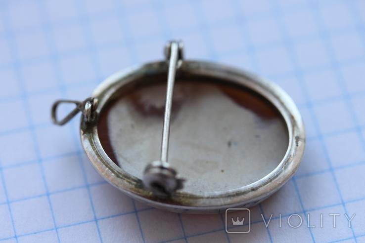 Кулон-брошь камея в серебре, фото №6