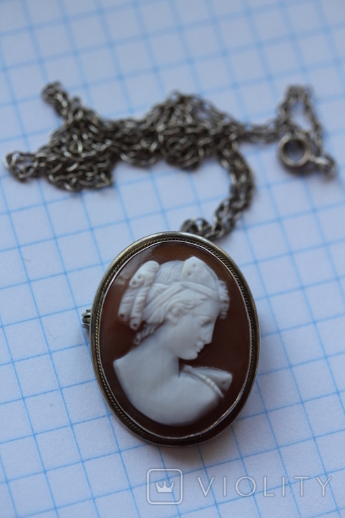 Кулон-брошь камея в серебре, фото №7