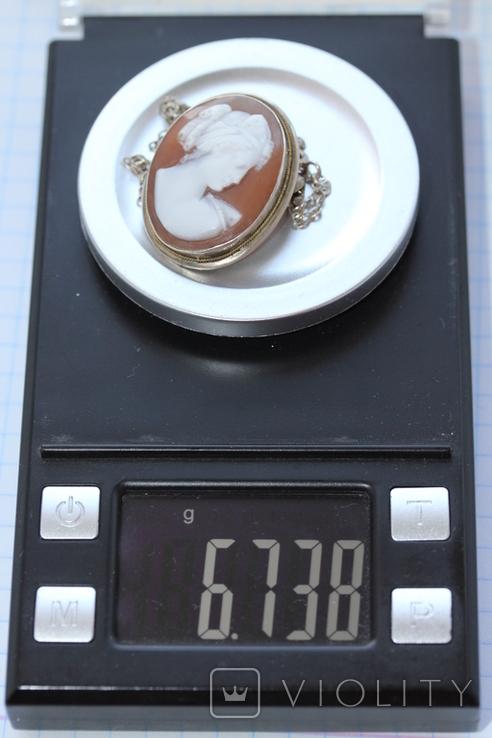 Кулон-брошь камея в серебре, фото №9
