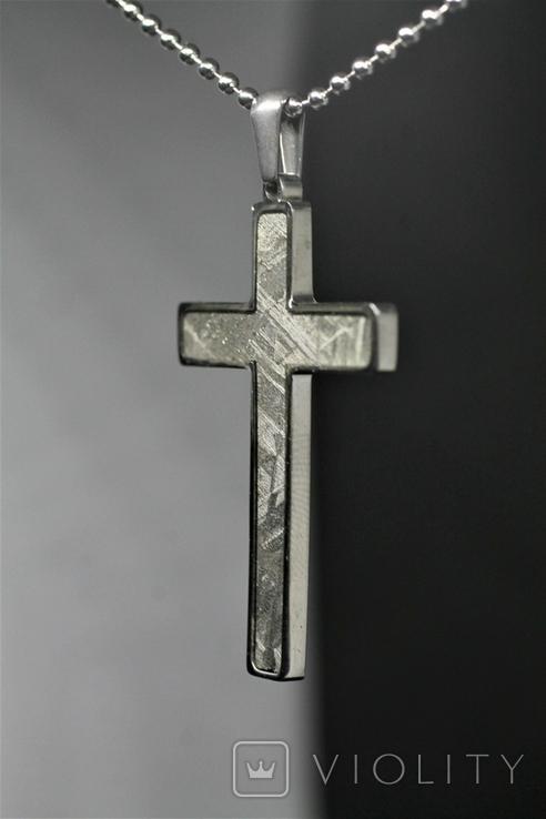 Підвіска-хрестик із метеоритом Muonionalusta, із сертифікатом автентичності, фото №4