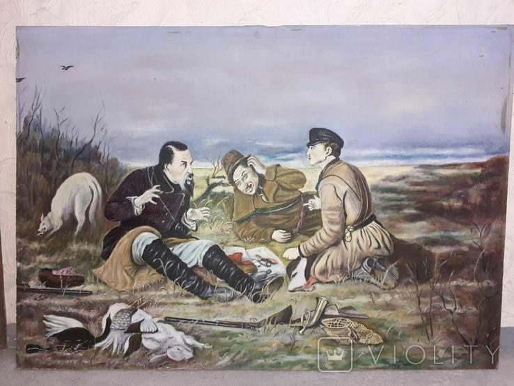 Картина ''Охотники на привале''. лот 3. копия, фото №2