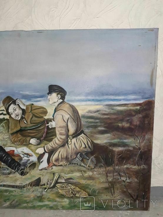 Картина ''Охотники на привале''. лот 3. копия, фото №6