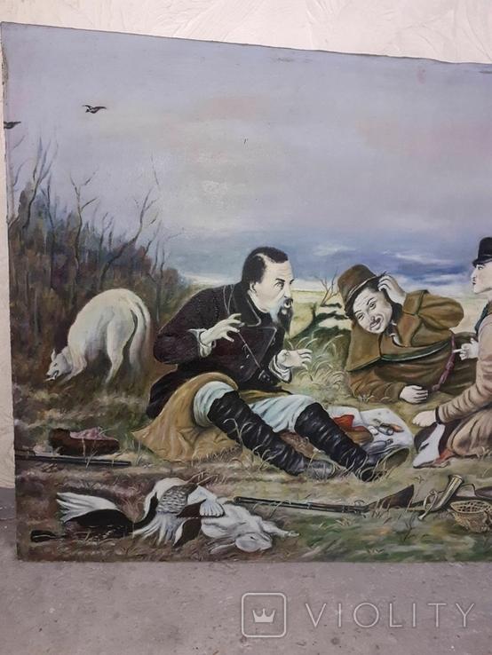 Картина ''Охотники на привале''. лот 3. копия, фото №7