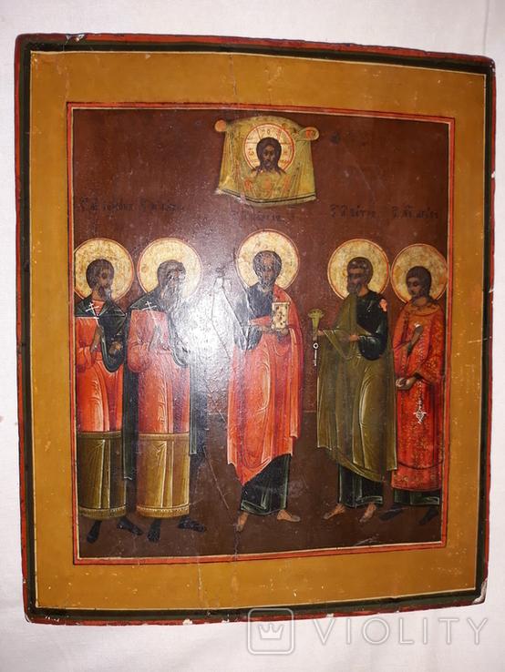 """Ікона кін. 19 - поч. 20 ст. """"Святі мученики Гурій, Самон і Авив, Апостоли Петро і Павло"""", фото №2"""