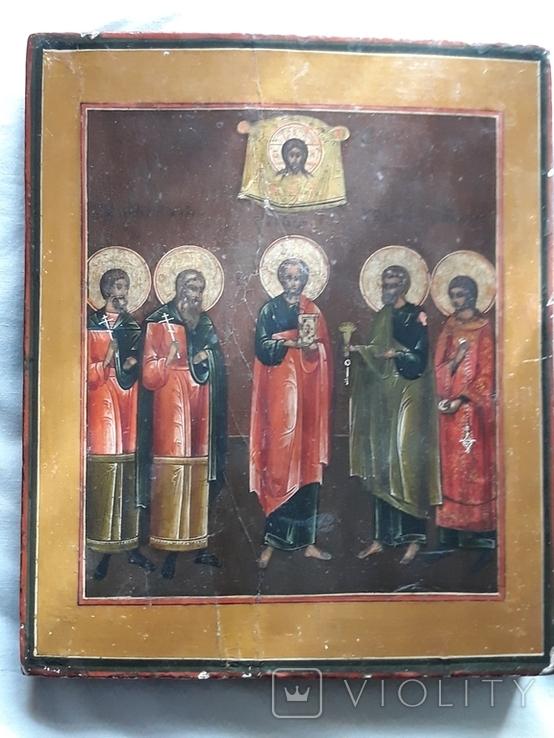 """Ікона кін. 19 - поч. 20 ст. """"Святі мученики Гурій, Самон і Авив, Апостоли Петро і Павло"""", фото №3"""