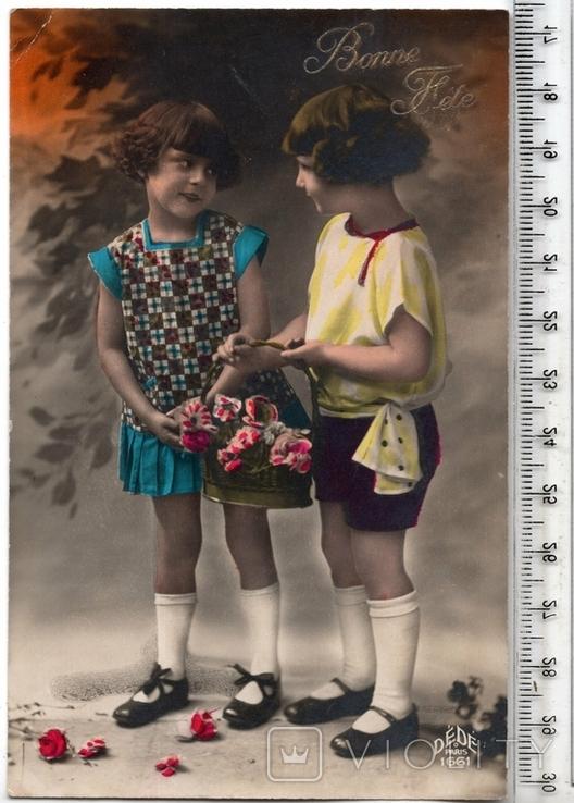 Старинная открытка. До 1945 годa. Дети.(3), фото №2
