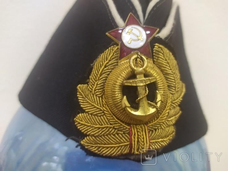 Пилотка ВМФ СССР с кокардой. Шитье канителью. Размер 55, фото №4