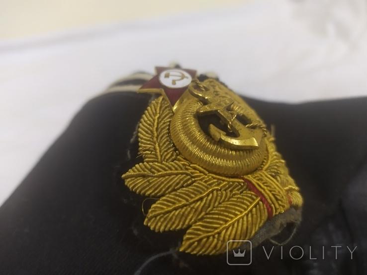 Пилотка ВМФ СССР с кокардой. Шитье канителью. Размер 55, фото №11
