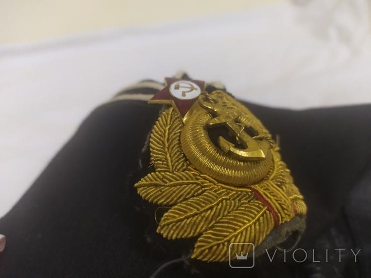 Пилотка ВМФ СССР с кокардой. Шитье канителью. Размер 55, фото №12