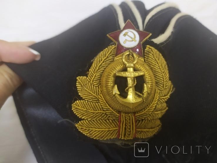 Пилотка ВМФ СССР с кокардой. Шитье канителью. Размер 55, фото №13