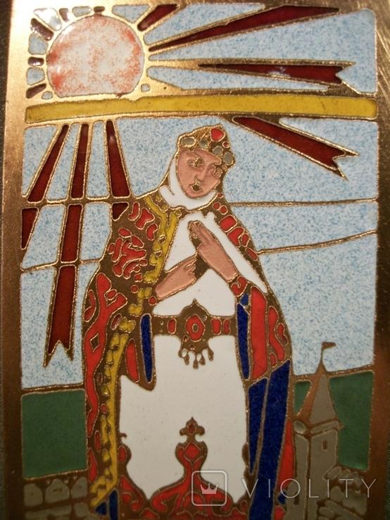 Н30 Панно, плакетка. Княгиня Ярославна. Повесть временных лет. Эмаль, медь, фото №4