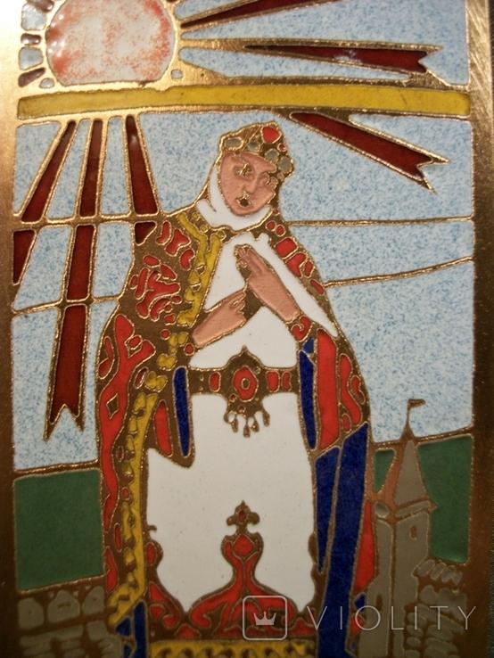 Н30 Панно, плакетка. Княгиня Ярославна. Повесть временных лет. Эмаль, медь, фото №5