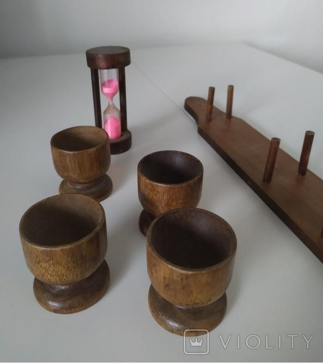 Стопки і пішчаний годинник з дерева, фото №5