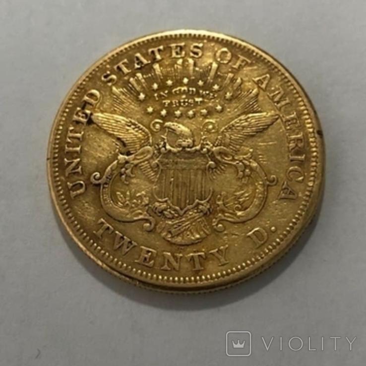 20 долларов США 1874 г. 900 пр. 33,4 гр., фото №2