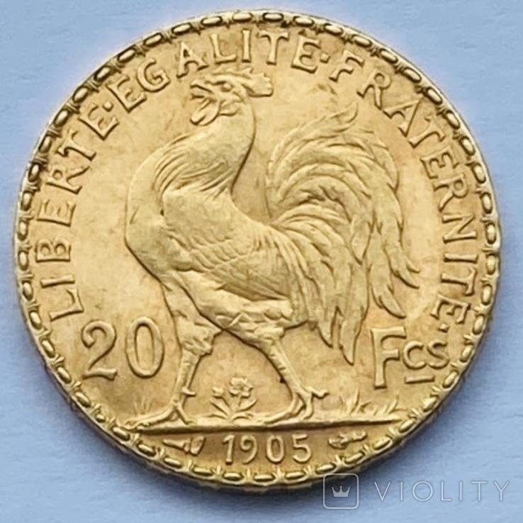 20 франков. 1905. Франция. Петух (золото 900, вес 6,45 г), фото №4