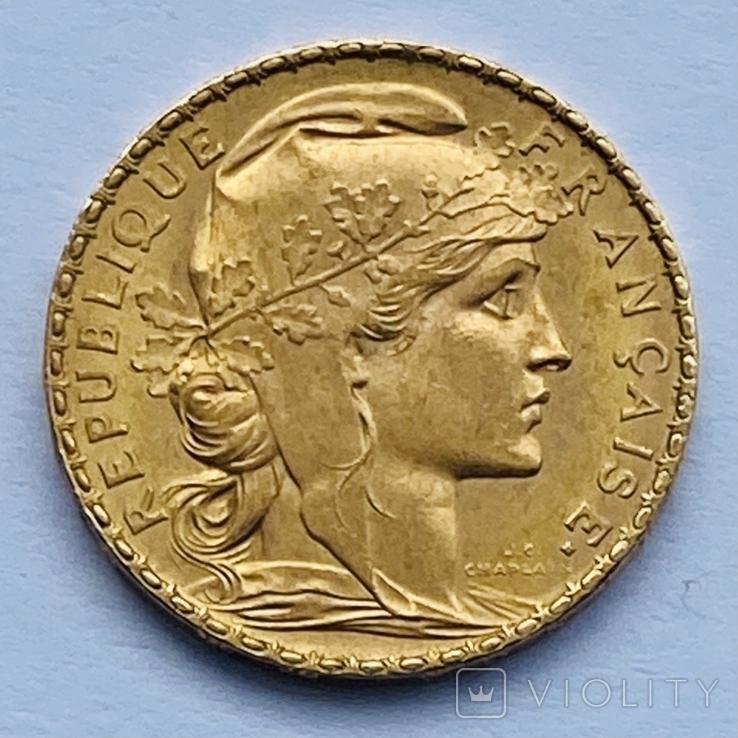 """20 франков. Франция """"Петух"""". 1906 (вес 6,45 г., проба 900), фото №2"""