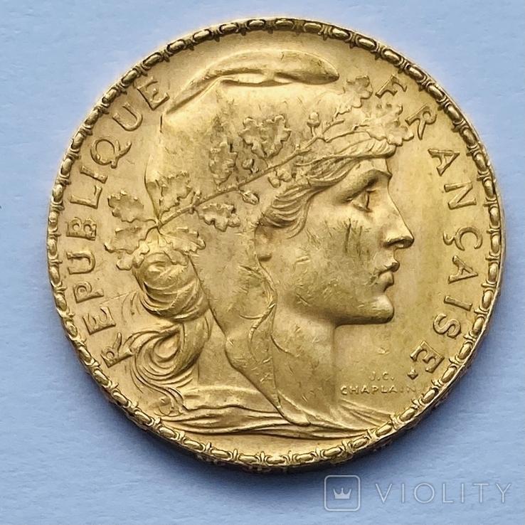 """20 франков. 1909. """"Петух"""". Франция (золото 900, вес 6,45 г), фото №2"""