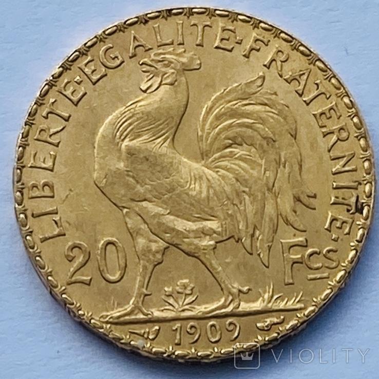 """20 франков. 1909. """"Петух"""". Франция (золото 900, вес 6,45 г), фото №3"""