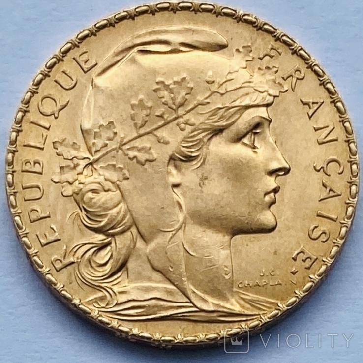 """20 франков. 1910. """"Петух"""". Франция (золото 900, вес 6,45 г), фото №2"""
