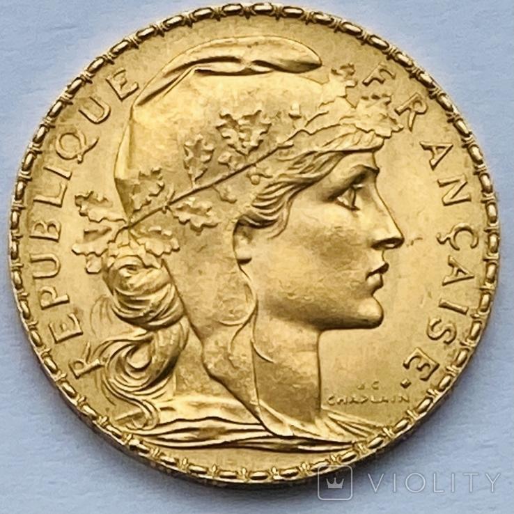 """20 франков. Франция """"Петух"""". 1911 (вес 6,45 г., проба 900), фото №2"""