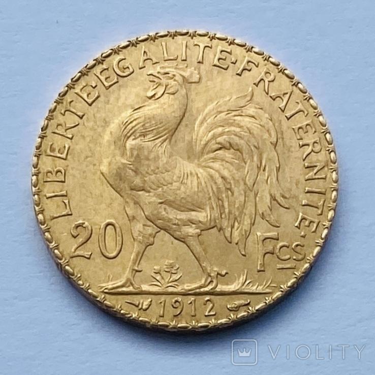 20 франков. 1912. Петух. Франция (золото 900, вес 6,47 г), фото №4