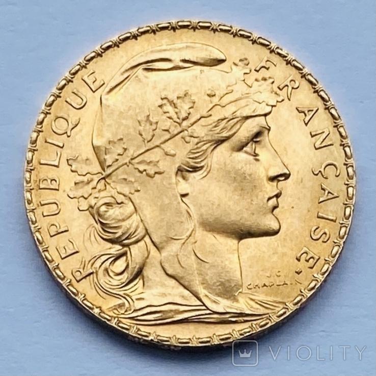 """20 франков. 1914. """"Петух"""". Франция (золото 900, вес 6,45 г), фото №2"""