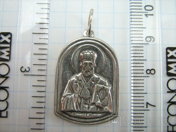 Серебряный Кулон Святой Николай Чудотворец Богородица Тверская Серебро 925 проба 914, фото №4
