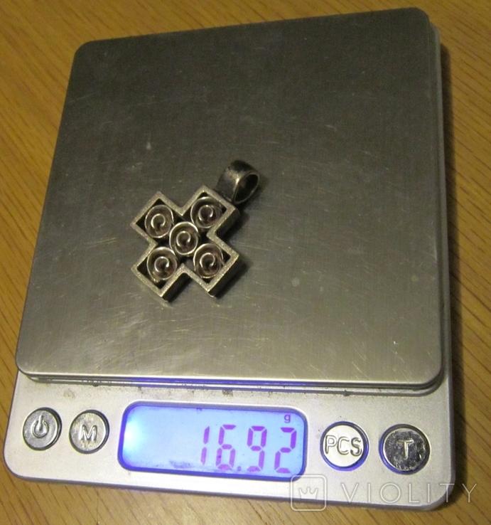 Хрест, винтаж  серебро 925, фото №8