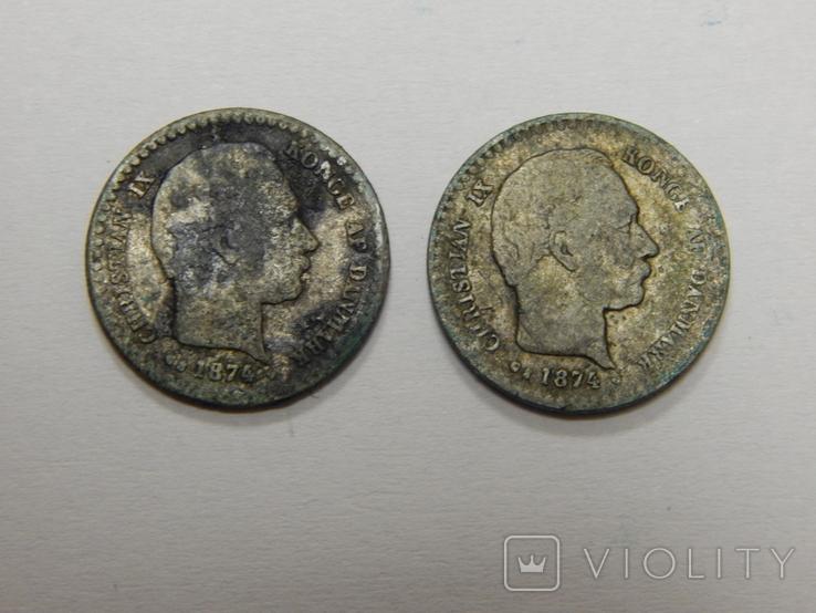 2 монеты по 10 оре, Дания, 1874 г, фото №3