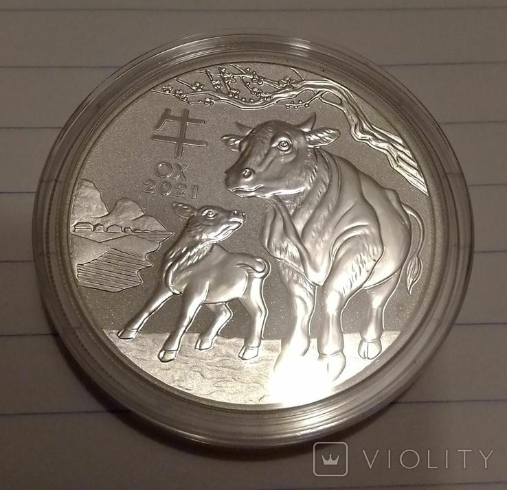 2021 г - 1 доллар Австралии,год Быка,унция серебра в капсуле, фото №2