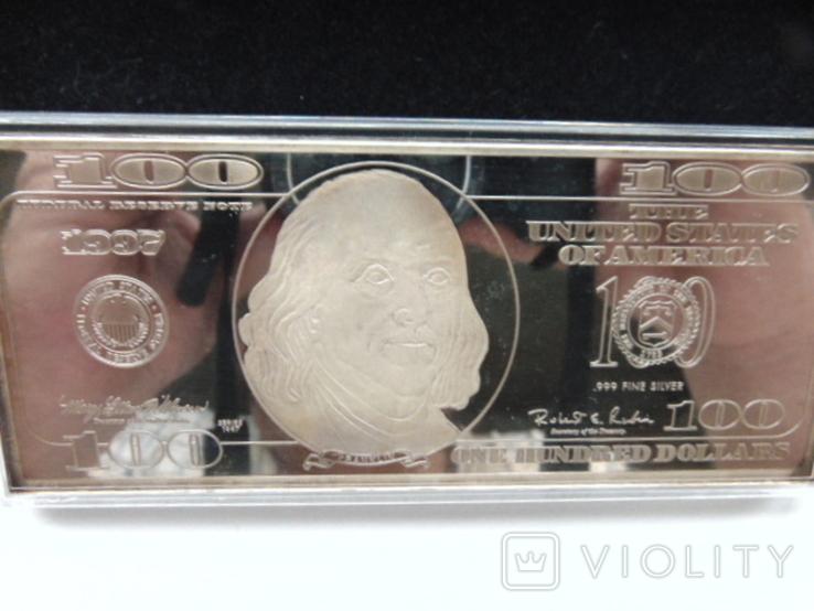 Серебряная Банкнота 100 долларов США.4 унции серебра 999.9 пробы. С 1 гривны., фото №3