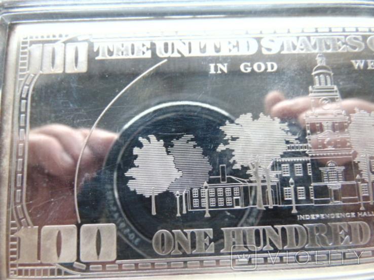 Серебряная Банкнота 100 долларов США.4 унции серебра 999.9 пробы. С 1 гривны., фото №8