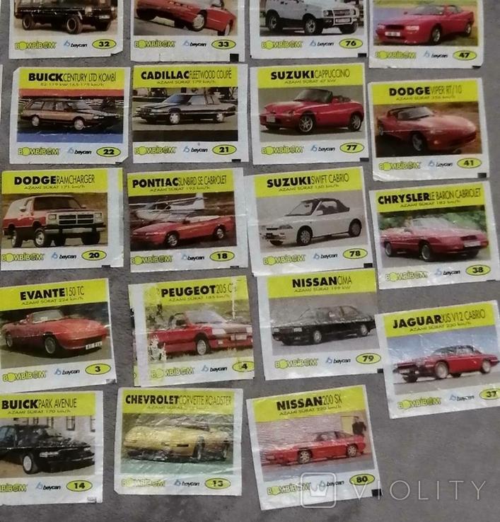 Вкладыши от жвачек Автомобили 55 шт, фото №5
