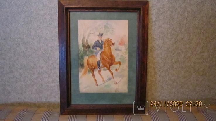 """И. Чаплинская  """"Норовистый конь""""  Акварель, фото №2"""