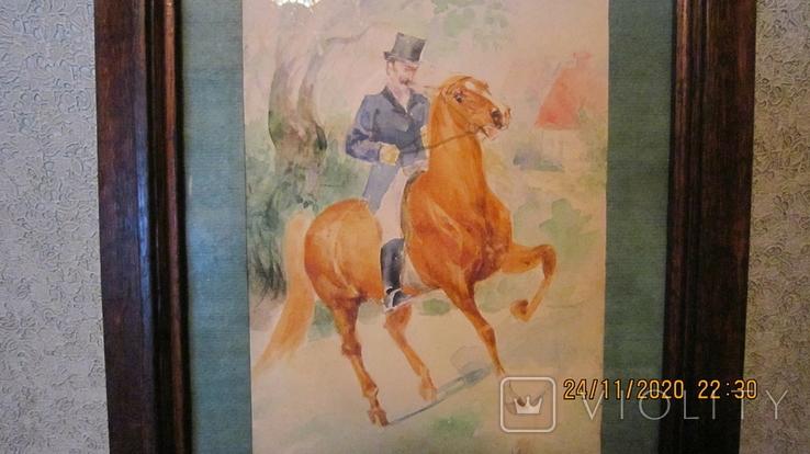 """И. Чаплинская  """"Норовистый конь""""  Акварель, фото №3"""